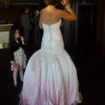 Hand crystal beaded corset raw silk, hand dip dyed ballgown wedding design - back view