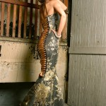 Extreme corset mermaid woven lace over silk (LeBra Photography)