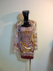 RTWC25 - bolero jacket, sequin embroidered lace, 150$