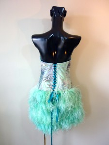 RTWC38 - hand beaded lace corset/laces with hand made ostrich feather fringe, 800$