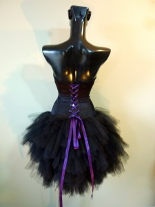 RTWC42 - silk corset/laces with hand beaded appliqués and tulle tutu bottom, 550$