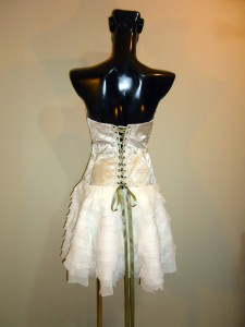 RTWC47 - silver thread baroque poly with frayed chiffon bottom, 525$