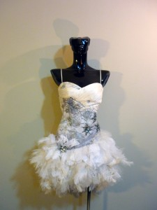 RTWC48 - embroidered sequin lace corset/zipper with ostrich/duck feather tutu bottom, 550$