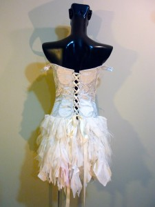 RTWC50 - silver thread baroque poly victorian corset/laces, shredded chiffon bottom, 550$