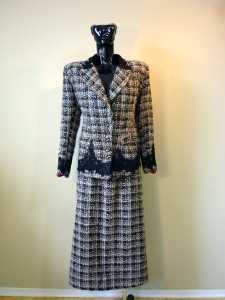 RTWC65 - custom suit, sequence wool with corded lace (includes shawl), 1200$