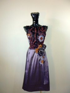 RTWC71 - taffeta with Mumbai hand beaded/embroidered lace, PUR $