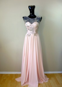 RTWPE4 - silk chiffon with hand crystal beaded lace.