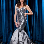 Geometric Sequin drop waisted Ballgown